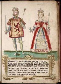 ілюстрація Малькольм III и Маргарита Шотландська на сторінці гербовника шотландської королеви Марії Стюарт (1562 р.)